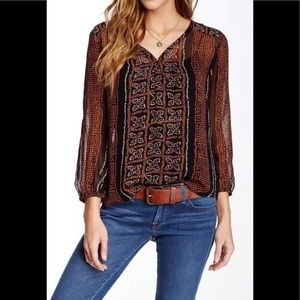 Lucky Brand Kaylee Peasant Blouse Size Small